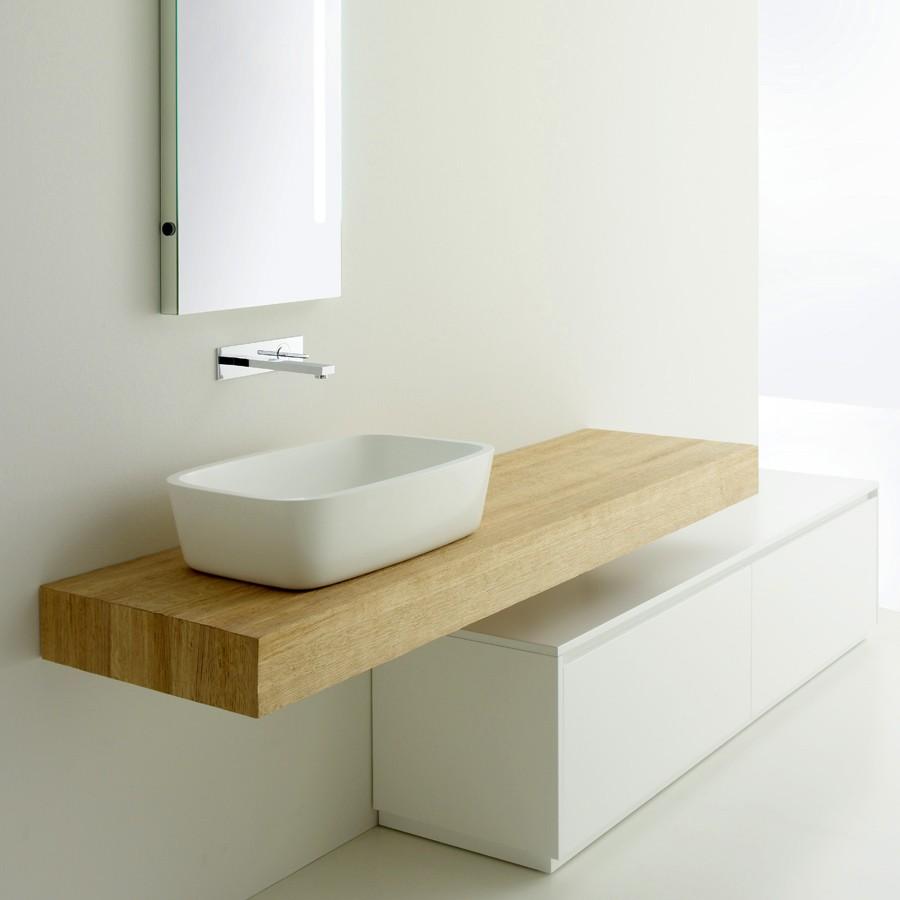 badeværelse bordplade Centoxcento 53/80   Bordplade i massiv egetræ til badeværelset badeværelse bordplade