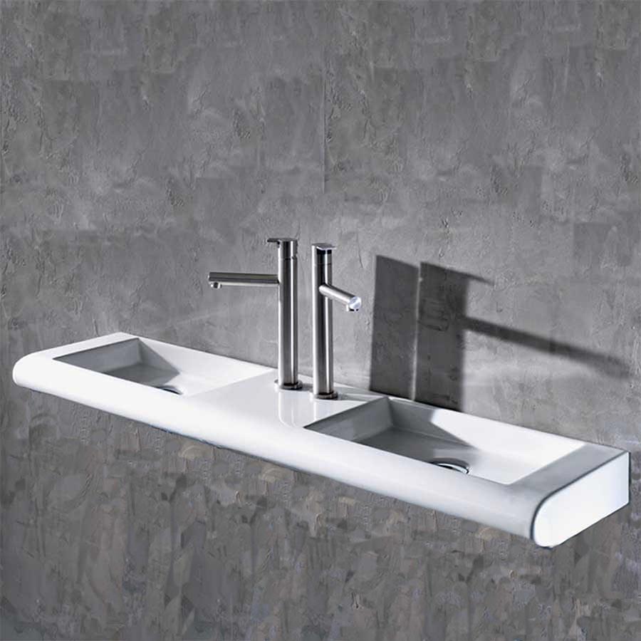 Ultra Curvet Dobbelt håndvask, perfekt til det smalle badeværelse. KG18