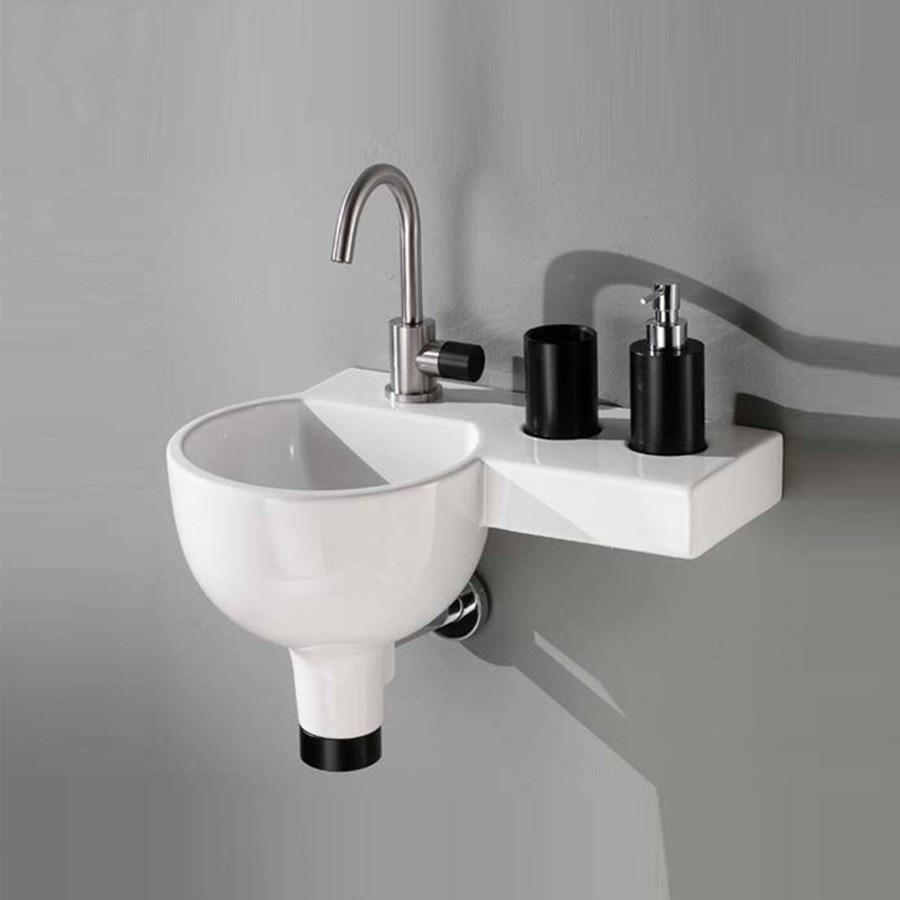 håndvask til badeværelse Sfera Plus   Perfekt lille håndvask med sidehylde, til små  håndvask til badeværelse
