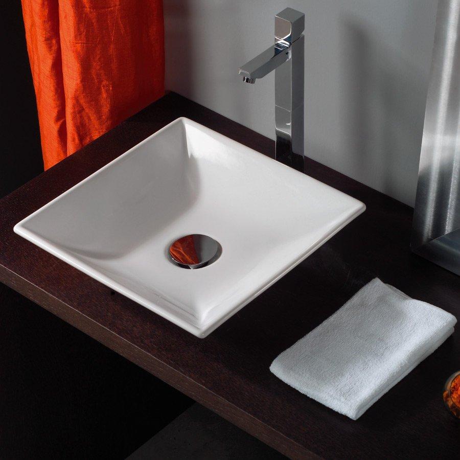 håndvask ovenpå bordplade Lille firkantet håndvask Square 36 til placering oven på bordplade håndvask ovenpå bordplade