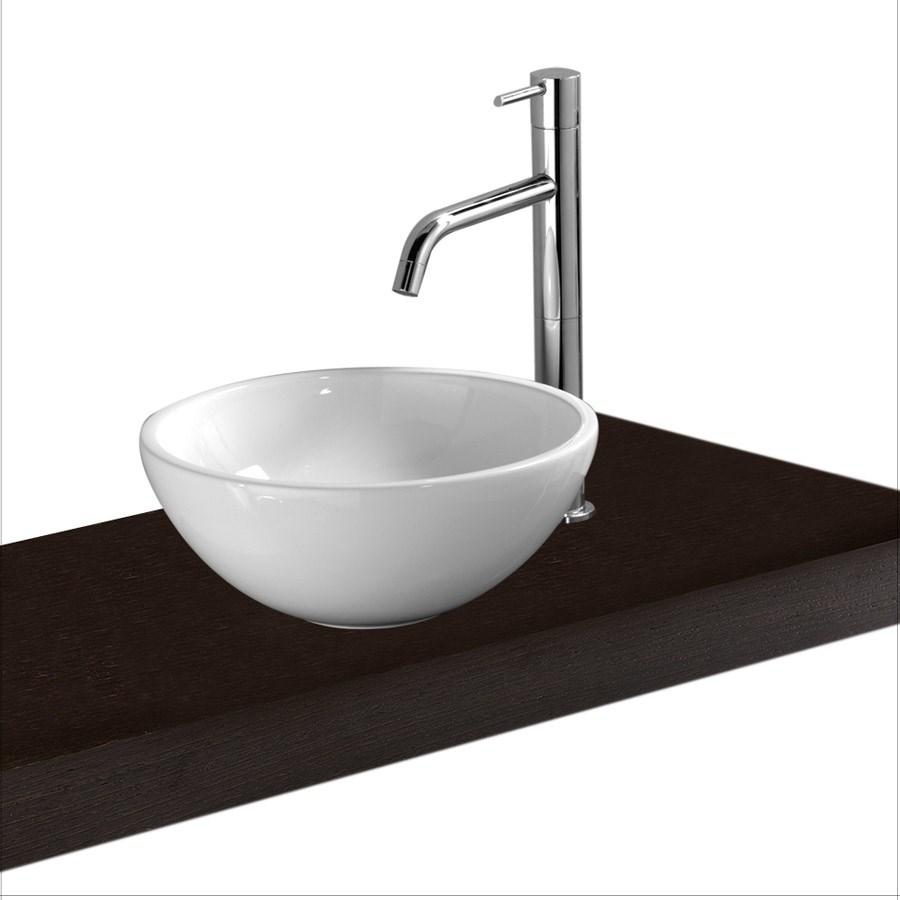 håndvask til bordplade Tondo Mini  Lille rund håndvask i hvid porcelæn til bord | Design4home håndvask til bordplade