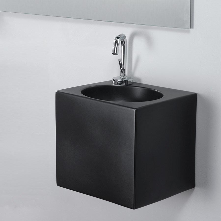 sort håndvask The Black Box II   Llille firkantet håndvask i sort porcelæn til væg. sort håndvask