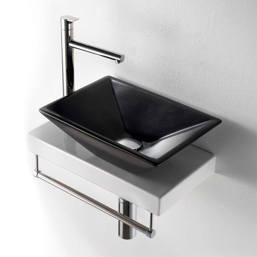 sort håndvask Prisma II   Lille sort håndvask i flot design med bordplade i porcelæn sort håndvask