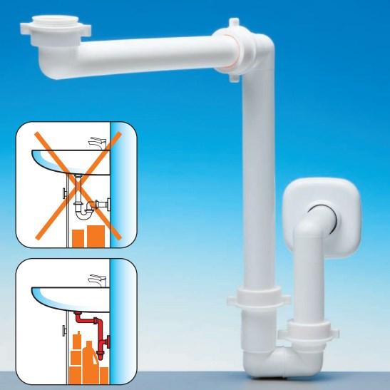 vandlås håndvask Pladsbesparende vandlås for håndvaske placeret på bordplade vandlås håndvask