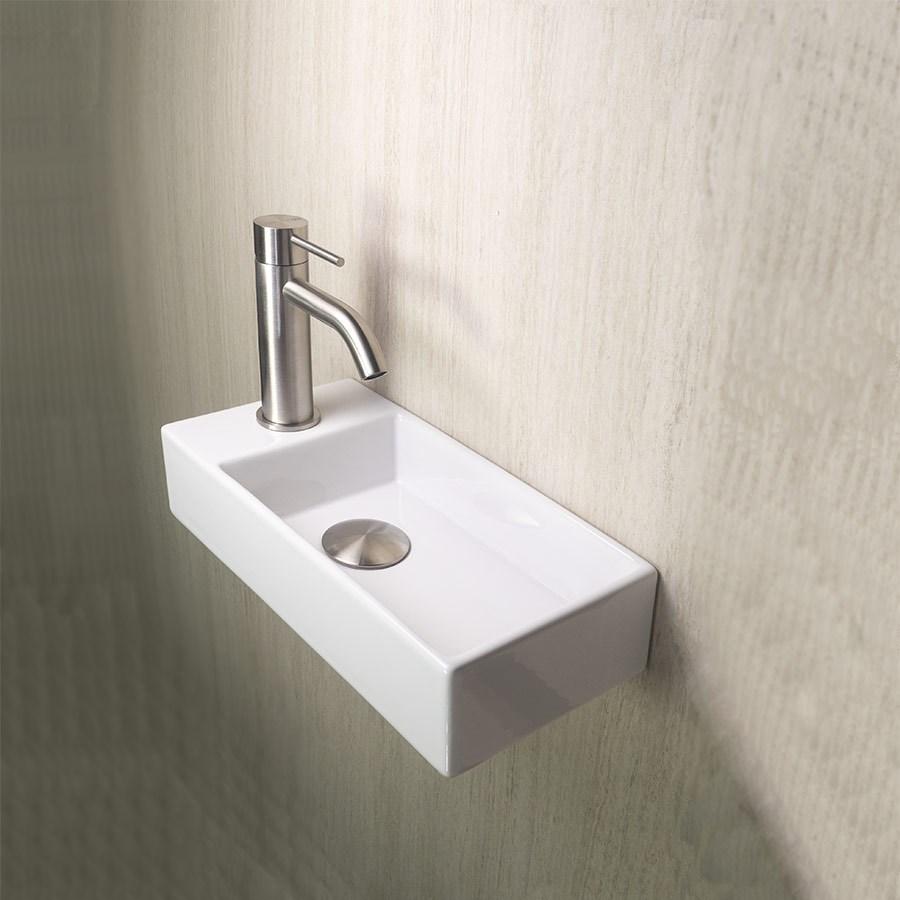 mini håndvask Rectangular V   Lille håndvask til placering på væg i venstre side mini håndvask